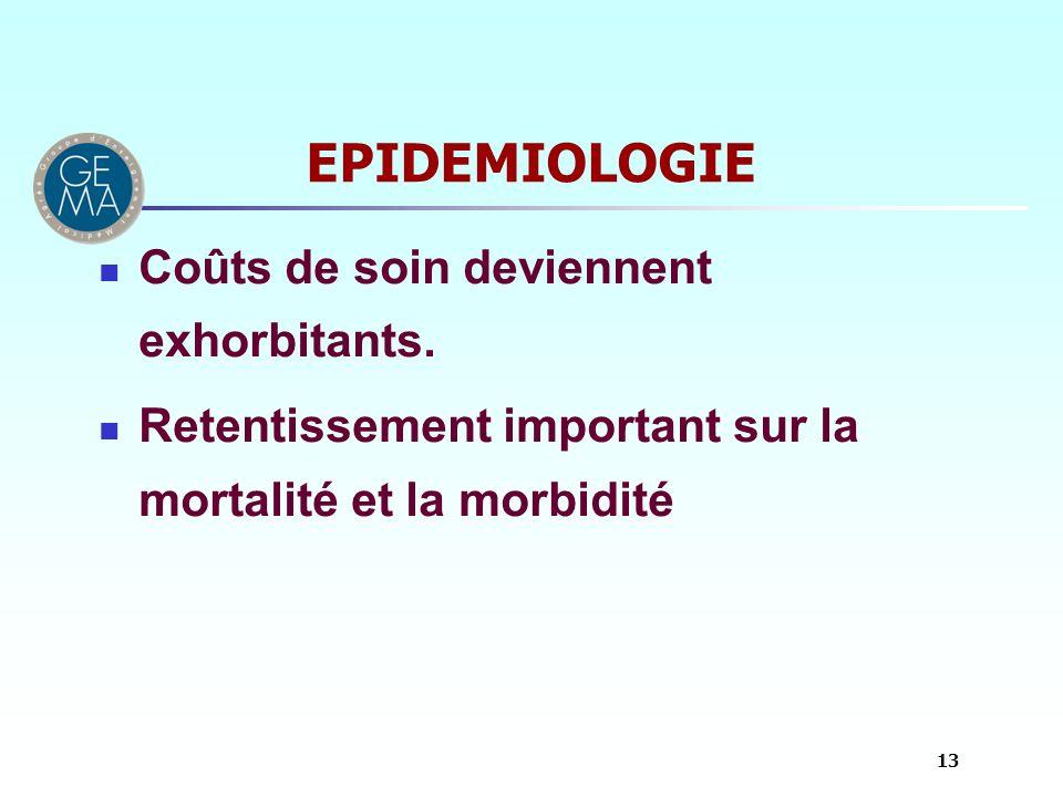 EPIDEMIOLOGIE Coûts de soin deviennent exhorbitants. Retentissement important sur la mortalité et la morbidité 13