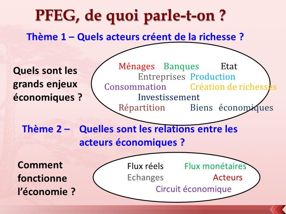 PFEG, de quoi parle-t-on ? Ménages Banques Etat EntreprisesProduction ConsommationCréation de richesses Investissement RépartitionBienséconomiques Thè