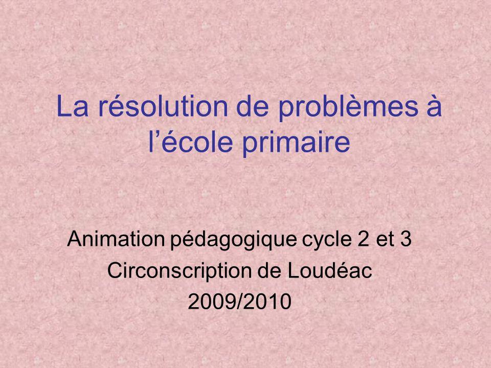 La résolution de problèmes à lécole primaire Animation pédagogique cycle 2 et 3 Circonscription de Loudéac 2009/2010