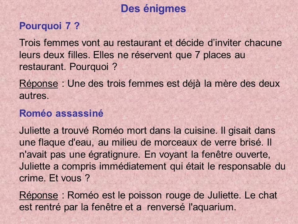 Des énigmes Pourquoi 7 ? Trois femmes vont au restaurant et décide dinviter chacune leurs deux filles. Elles ne réservent que 7 places au restaurant.