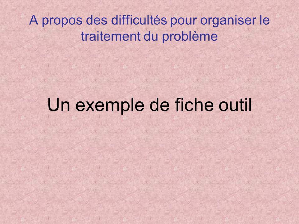 A propos des difficultés pour organiser le traitement du problème Un exemple de fiche outil