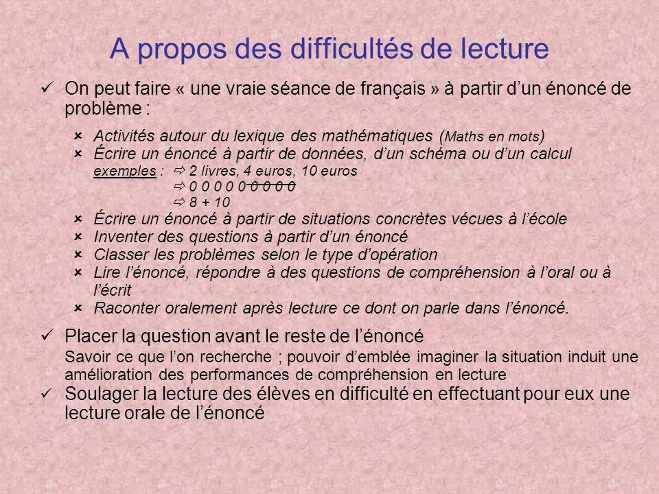 A propos des difficultés de lecture On peut faire « une vraie séance de français » à partir dun énoncé de problème : Activités autour du lexique des m