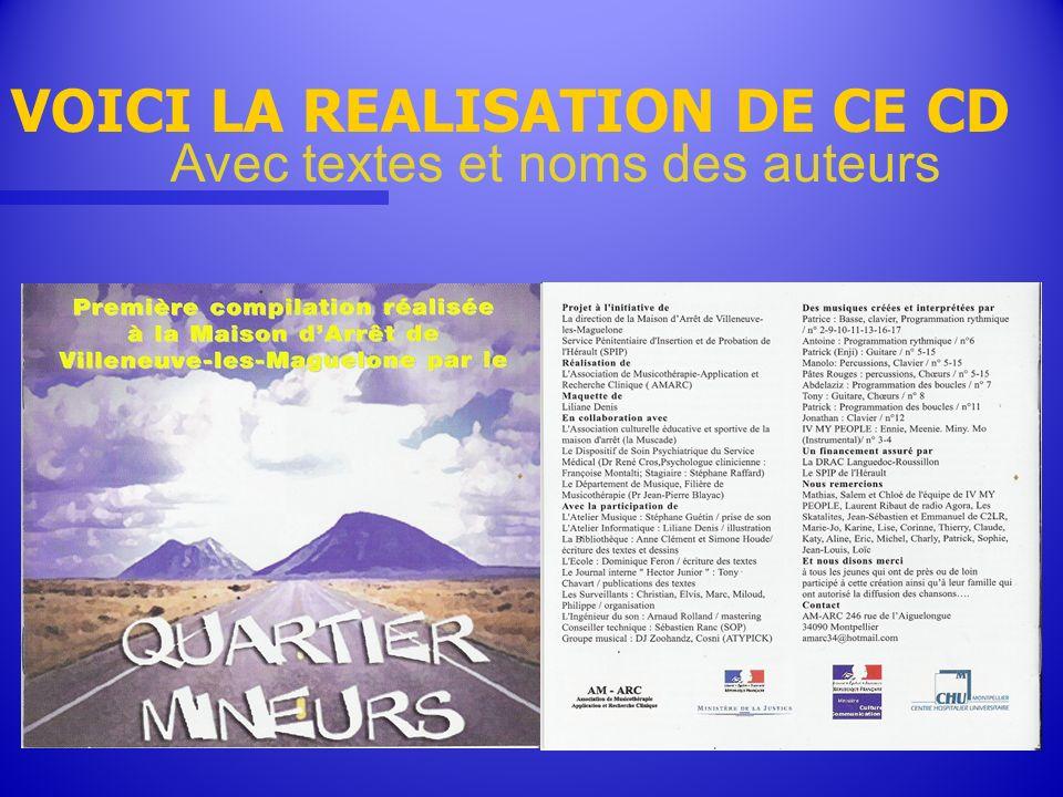 VOICI LA REALISATION DE CE CD Avec textes et noms des auteurs