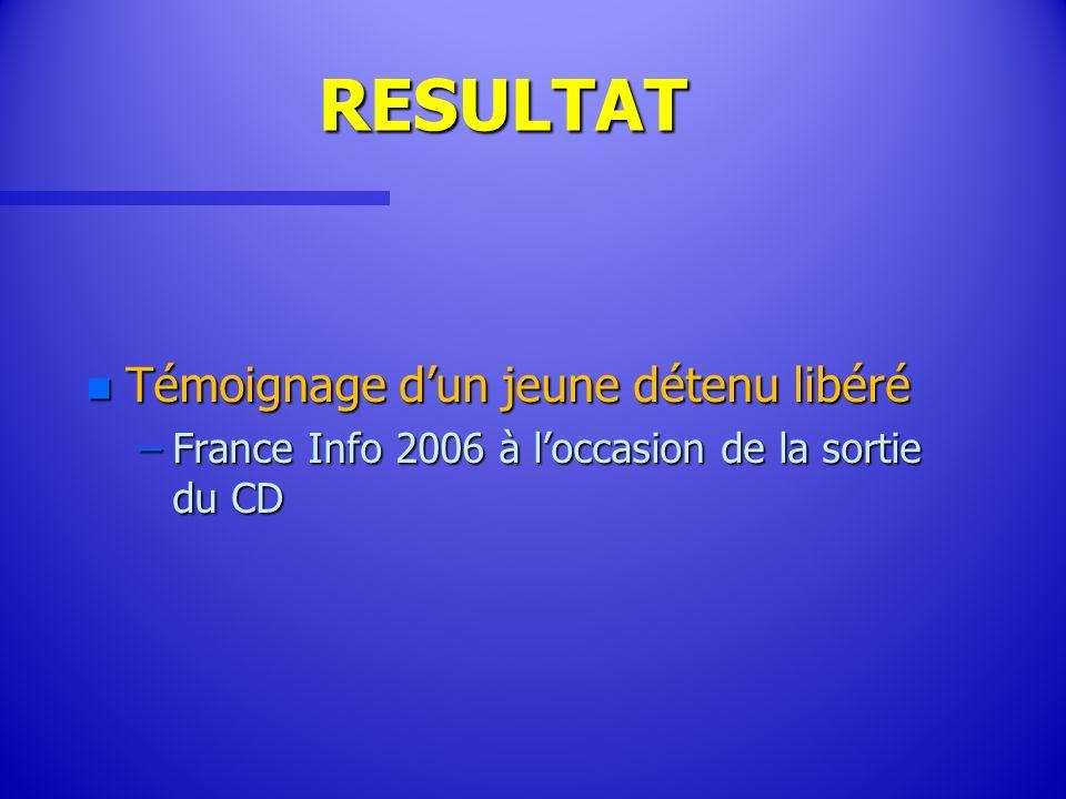 RESULTAT n Témoignage dun jeune détenu libéré –France Info 2006 à loccasion de la sortie du CD