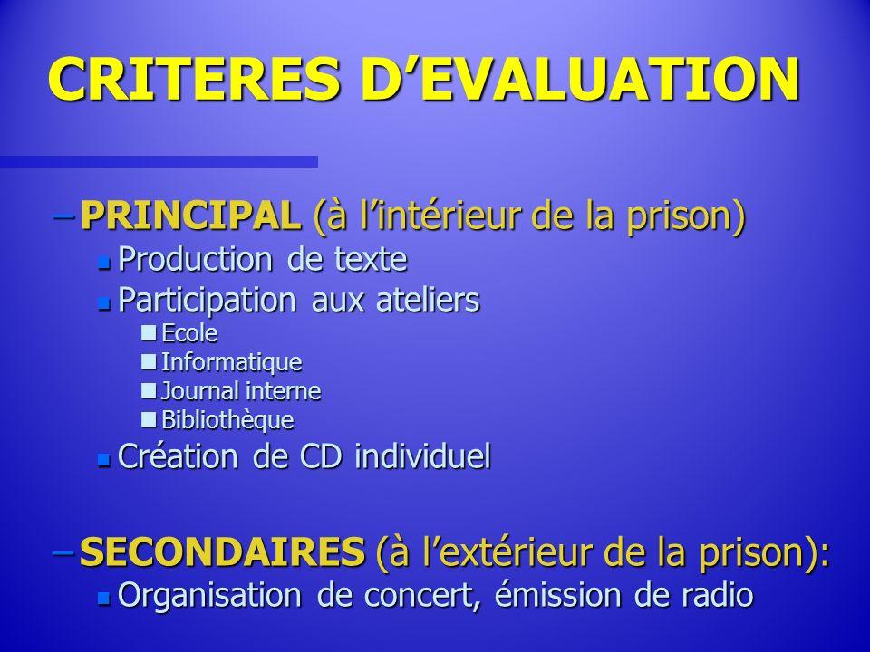 CRITERES DEVALUATION –PRINCIPAL (à lintérieur de la prison) n Production de texte n Participation aux ateliers nEcole nInformatique nJournal interne n