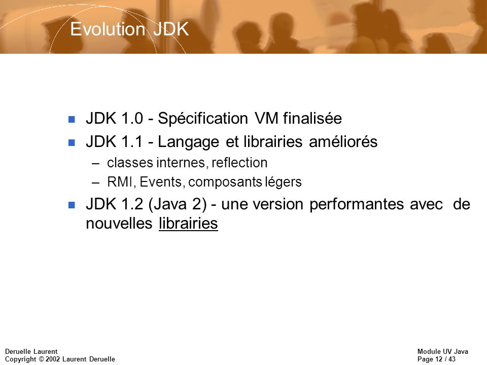 Module UV Java Page 12 / 43 Deruelle Laurent Copyright © 2002 Laurent Deruelle Evolution JDK n JDK 1.0 - Spécification VM finalisée n JDK 1.1 - Langag