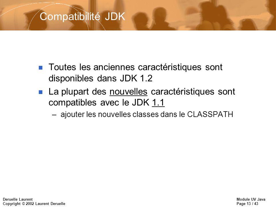 Module UV Java Page 13 / 43 Deruelle Laurent Copyright © 2002 Laurent Deruelle Compatibilité JDK n Toutes les anciennes caractéristiques sont disponib