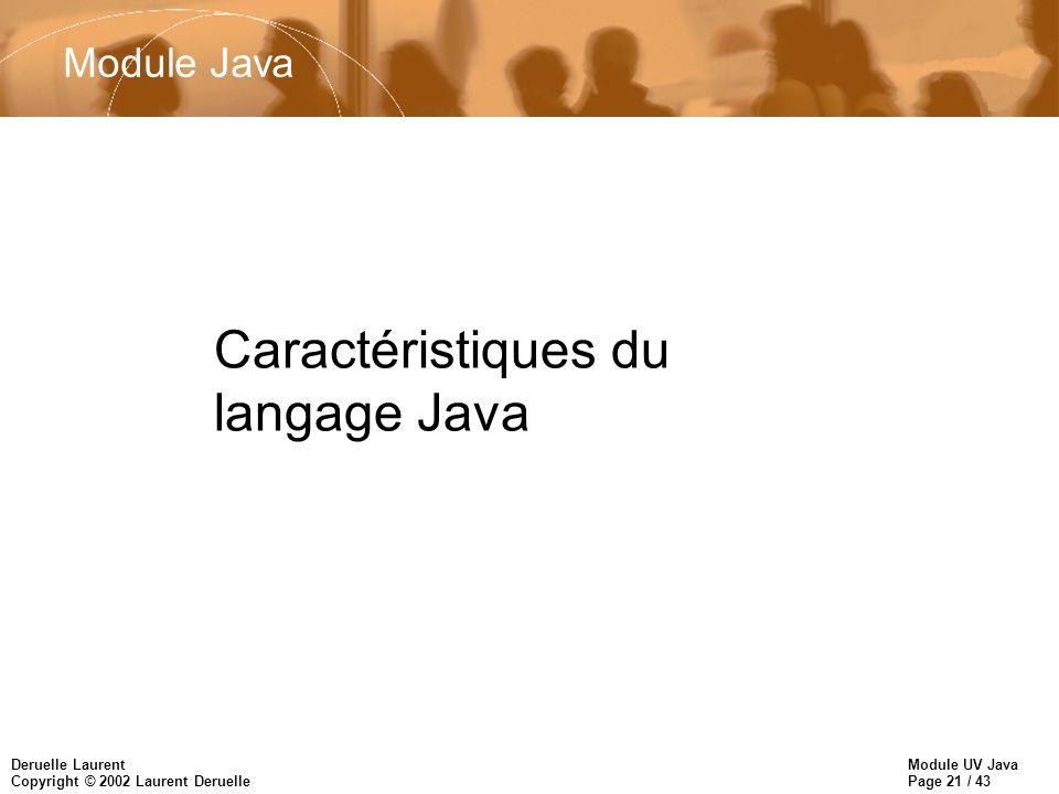 Module UV Java Page 21 / 43 Deruelle Laurent Copyright © 2002 Laurent Deruelle Caractéristiques du langage Java 2 Module Java