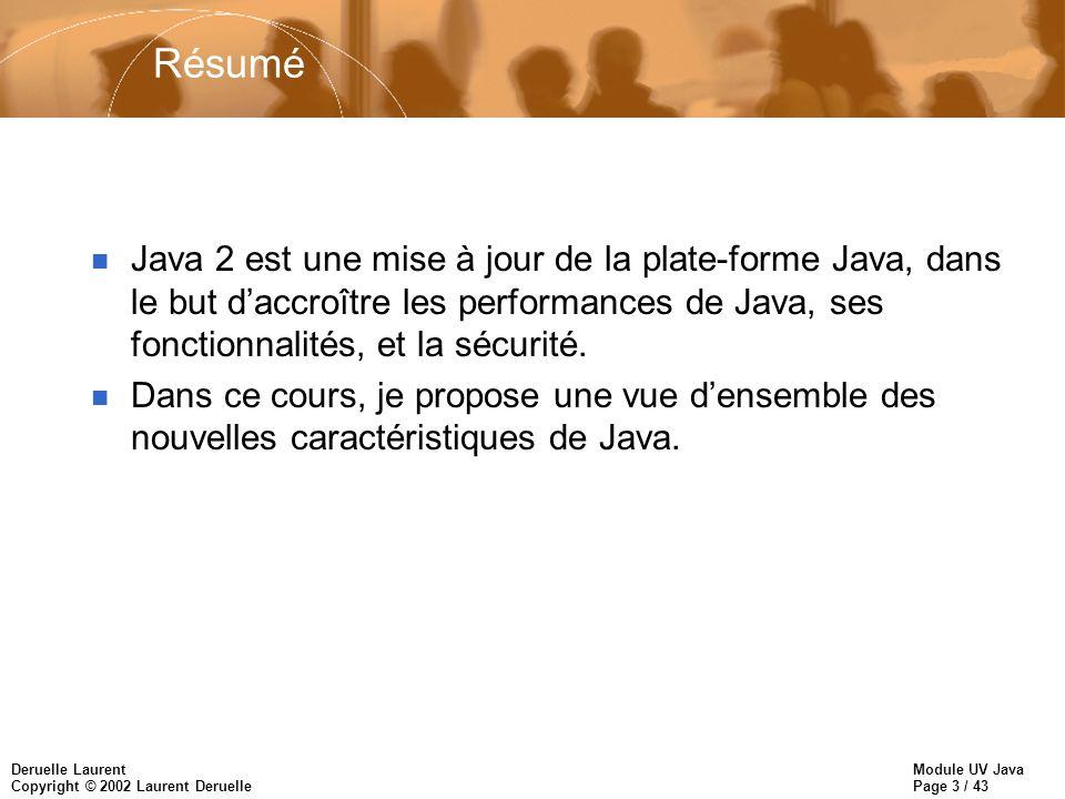 Module UV Java Page 3 / 43 Deruelle Laurent Copyright © 2002 Laurent Deruelle Résumé n Java 2 est une mise à jour de la plate-forme Java, dans le but