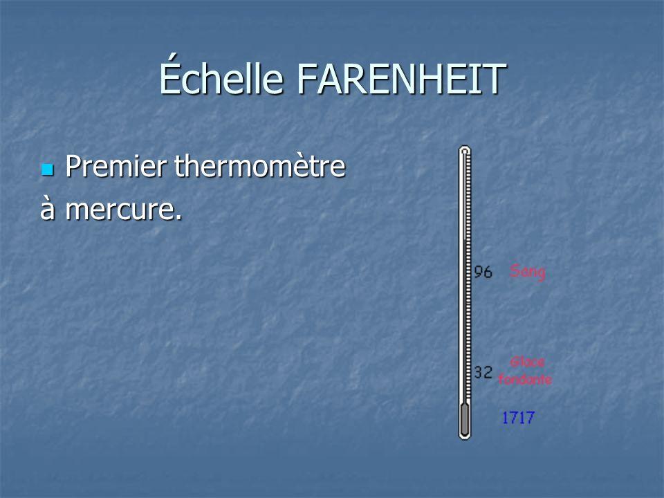 Échelle FARENHEIT Premier thermomètre Premier thermomètre à mercure.