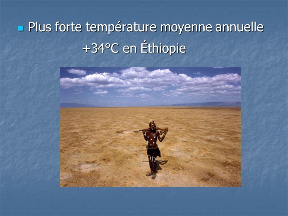 Plus forte température moyenne annuelle Plus forte température moyenne annuelle +34°C en Éthiopie