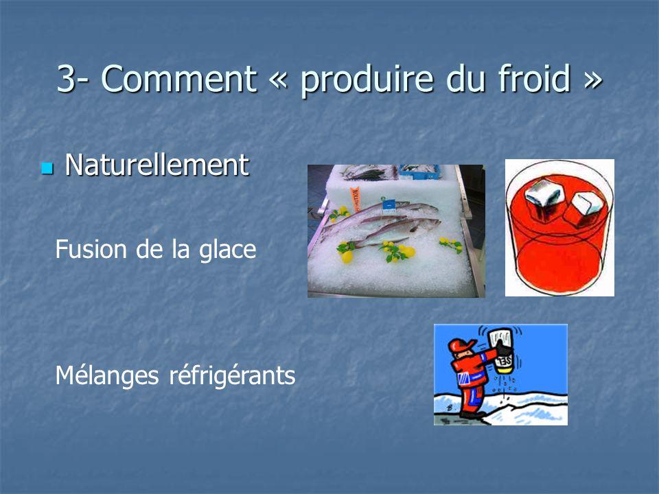 3- Comment « produire du froid » Naturellement Naturellement Fusion de la glace Mélanges réfrigérants