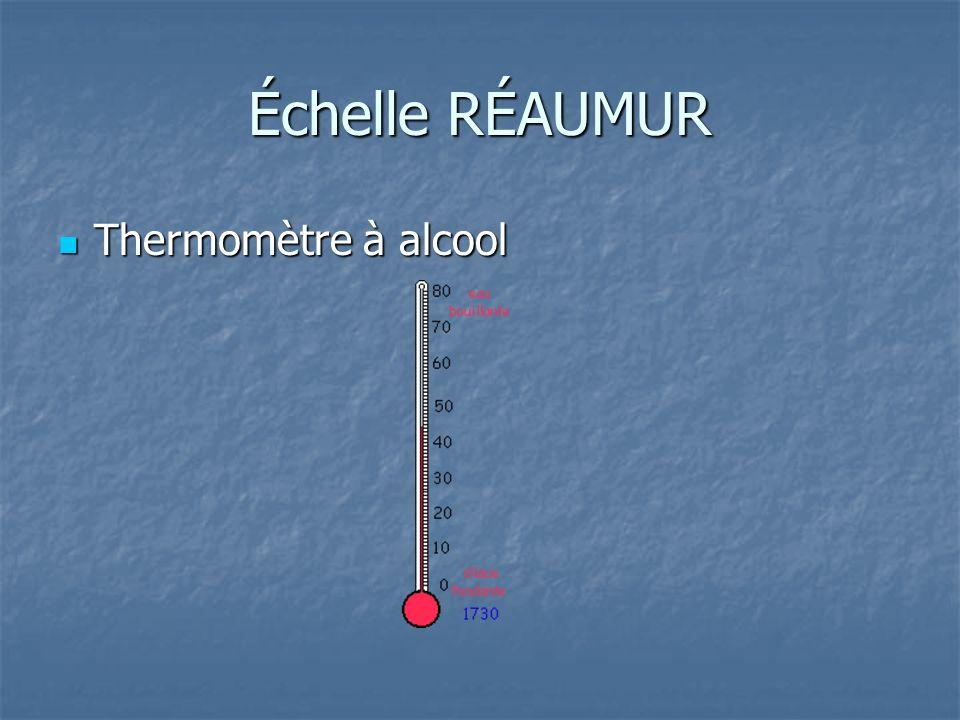 Échelle RÉAUMUR Thermomètre à alcool Thermomètre à alcool