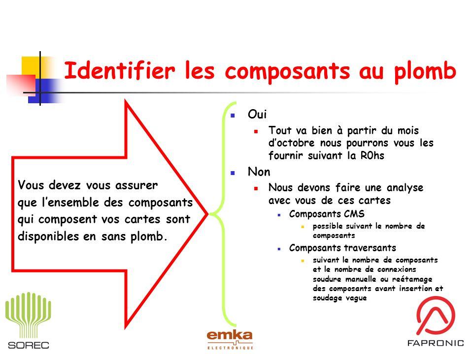 Identifier les composants au plomb Vous devez vous assurer que lensemble des composants qui composent vos cartes sont disponibles en sans plomb. Oui T