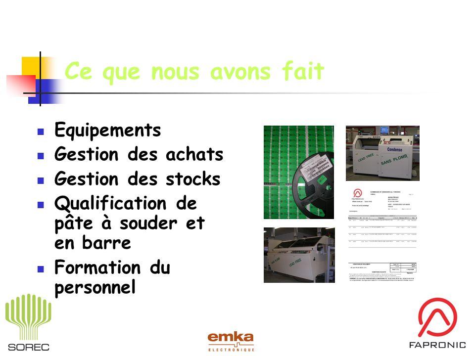 Ce que nous avons fait Equipements Gestion des achats Gestion des stocks Qualification de pâte à souder et en barre Formation du personnel