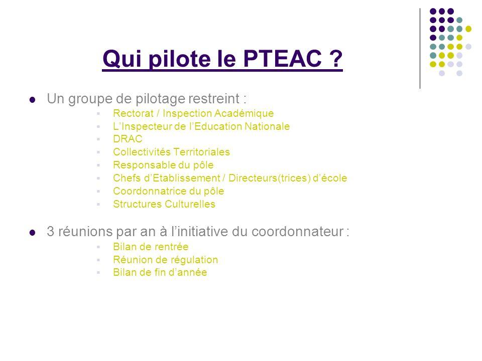 Qui pilote le PTEAC ? Un groupe de pilotage restreint : Rectorat / Inspection Académique LInspecteur de lEducation Nationale DRAC Collectivités Territ