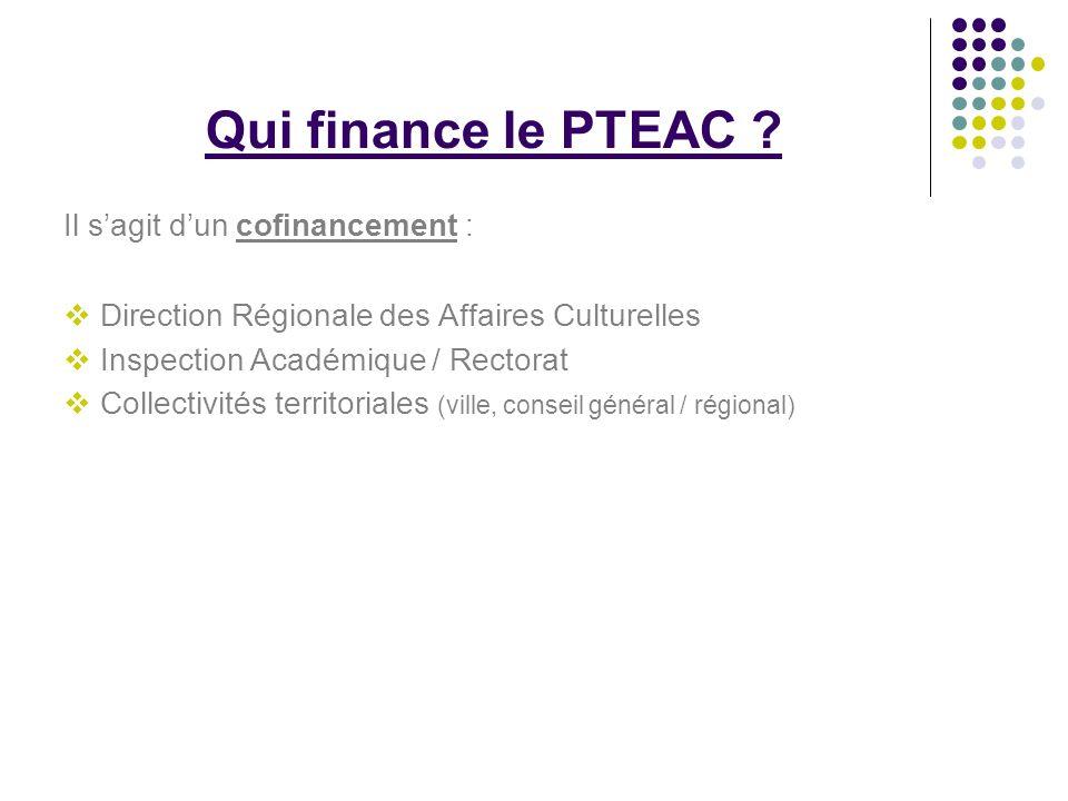 Qui finance le PTEAC ? Il sagit dun cofinancement : Direction Régionale des Affaires Culturelles Inspection Académique / Rectorat Collectivités territ