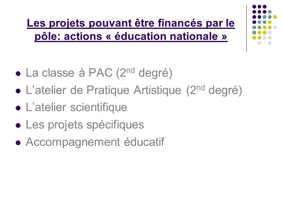 Les projets pouvant être financés par le pôle: actions « éducation nationale » La classe à PAC (2 nd degré) Latelier de Pratique Artistique (2 nd degr