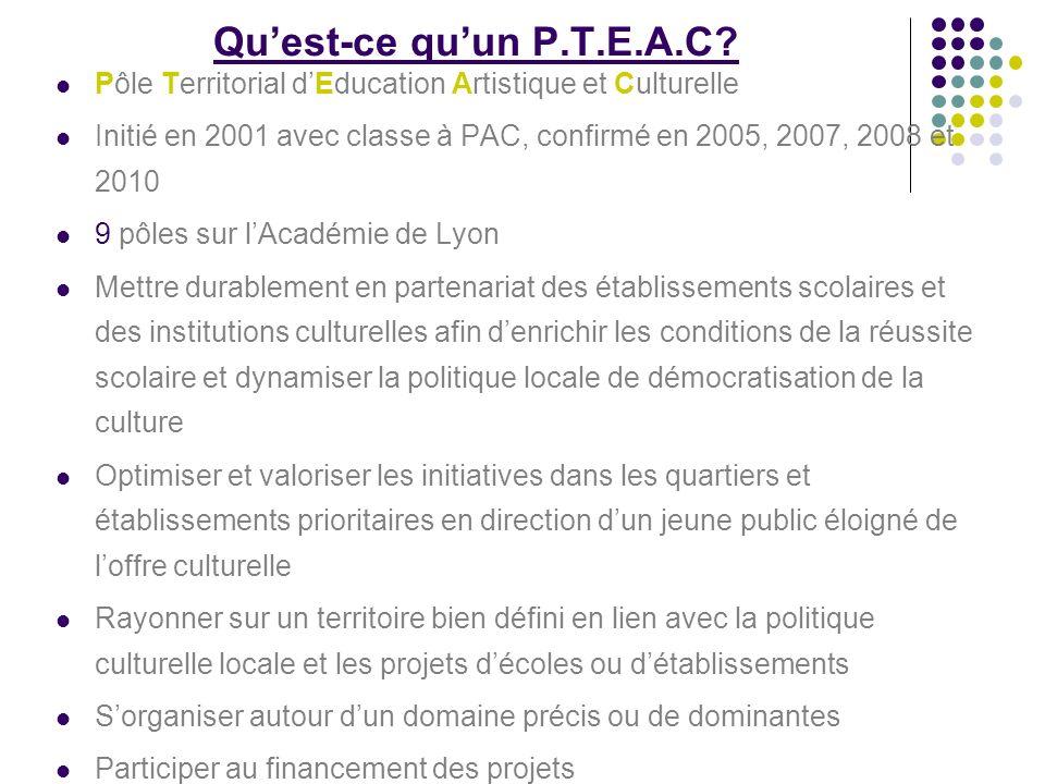 Quest-ce quun P.T.E.A.C? Pôle Territorial dEducation Artistique et Culturelle Initié en 2001 avec classe à PAC, confirmé en 2005, 2007, 2008 et 2010 9