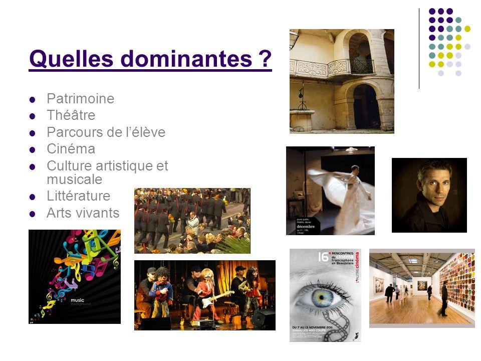 Quelles dominantes ? Patrimoine Théâtre Parcours de lélève Cinéma Culture artistique et musicale Littérature Arts vivants
