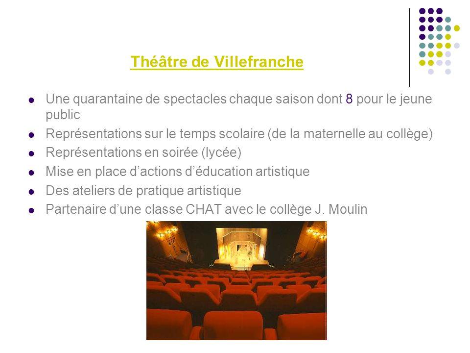 Théâtre de Villefranche Une quarantaine de spectacles chaque saison dont 8 pour le jeune public Représentations sur le temps scolaire (de la maternell