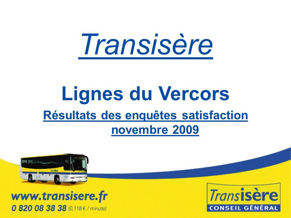 Transisère Lignes du Vercors Résultats des enquêtes satisfaction novembre 2009