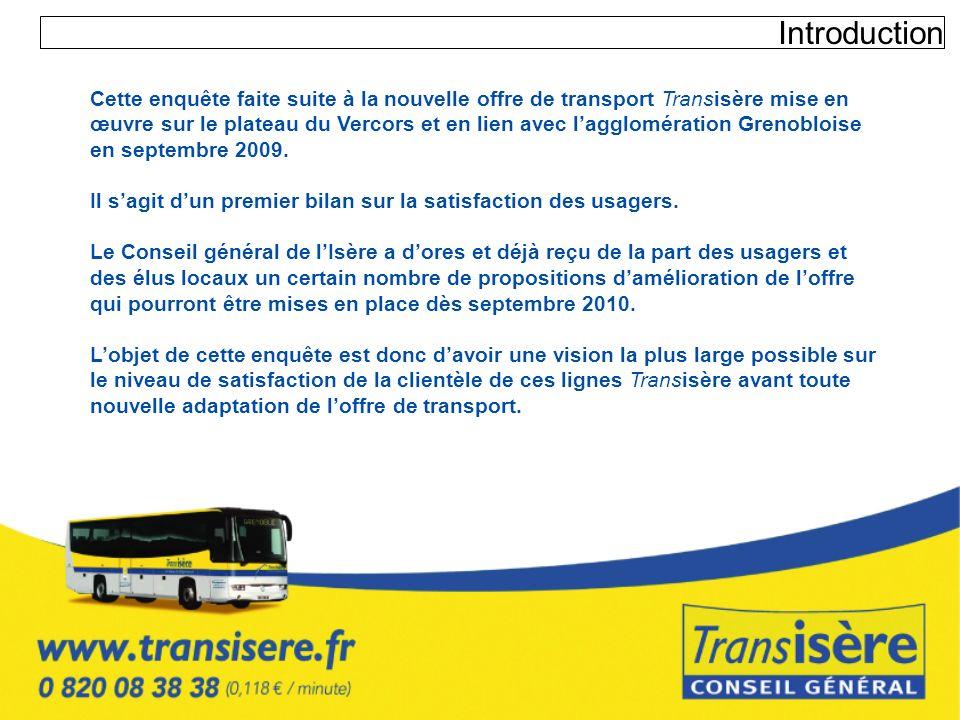 Introduction Cette enquête faite suite à la nouvelle offre de transport Transisère mise en œuvre sur le plateau du Vercors et en lien avec lagglomérat