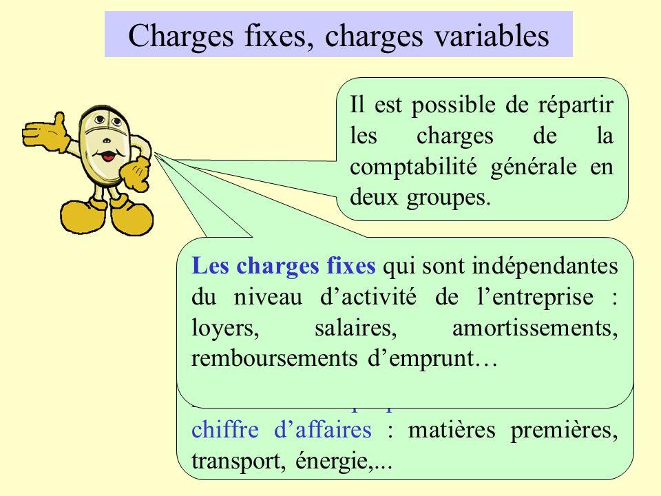 Charges fixes, charges variables Il est possible de répartir les charges de la comptabilité générale en deux groupes. Les charges variables qui sont l