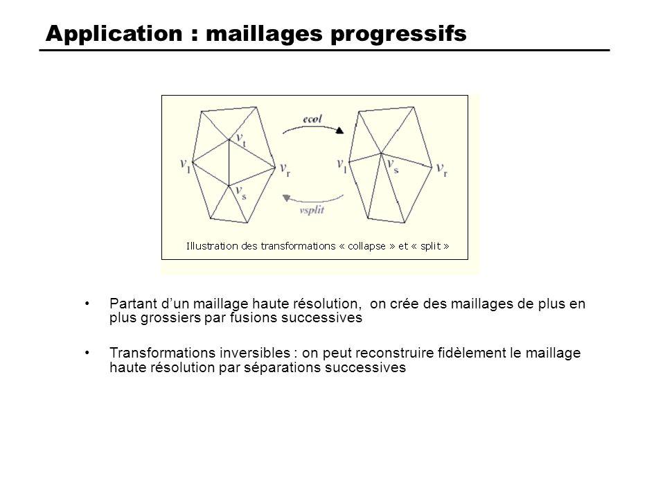 Application : maillages progressifs Partant dun maillage haute résolution, on crée des maillages de plus en plus grossiers par fusions successives Transformations inversibles : on peut reconstruire fidèlement le maillage haute résolution par séparations successives