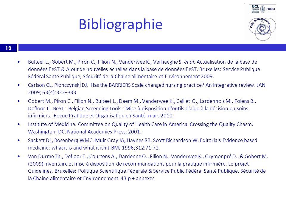 12 Bibliographie Bulteel L., Gobert M., Piron C., Filion N., Vanderwee K., Verhaeghe S. et al. Actualisation de la base de données BeST & Ajout de nou