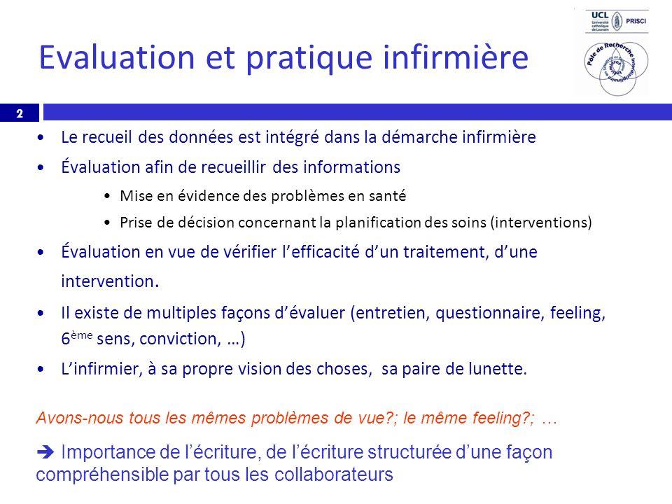 2 Evaluation et pratique infirmière Le recueil des données est intégré dans la démarche infirmière Évaluation afin de recueillir des informations Mise