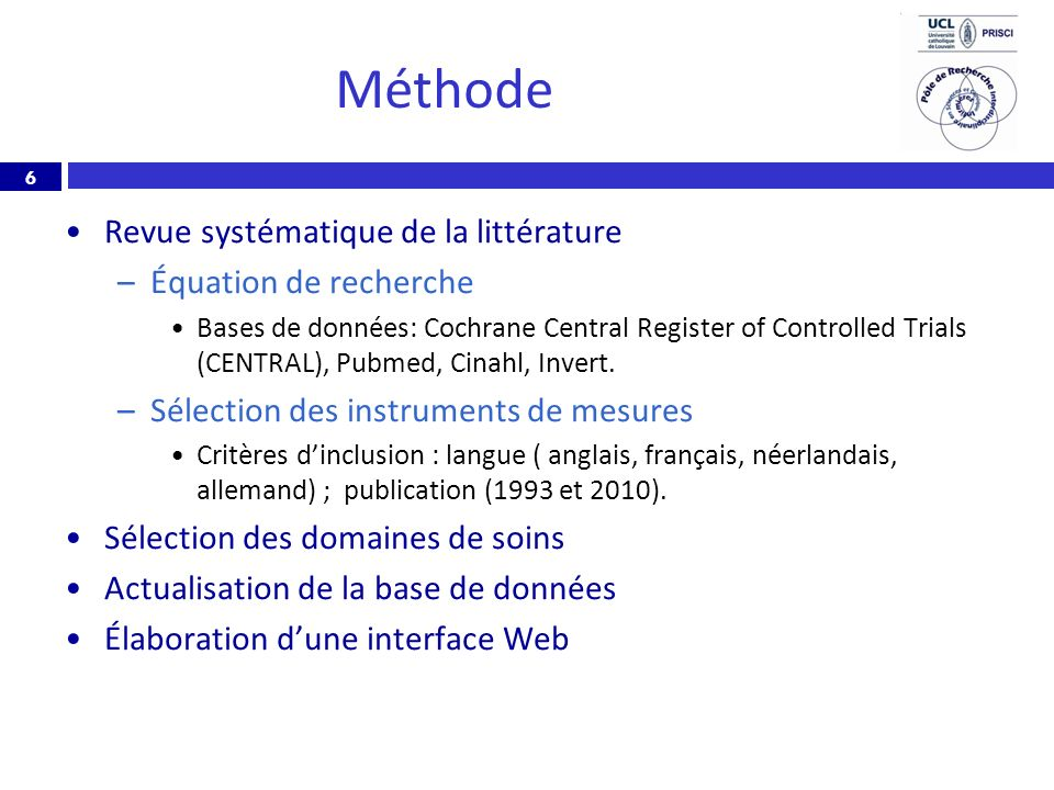 6 Méthode Revue systématique de la littérature –Équation de recherche Bases de données: Cochrane Central Register of Controlled Trials (CENTRAL), Pubm