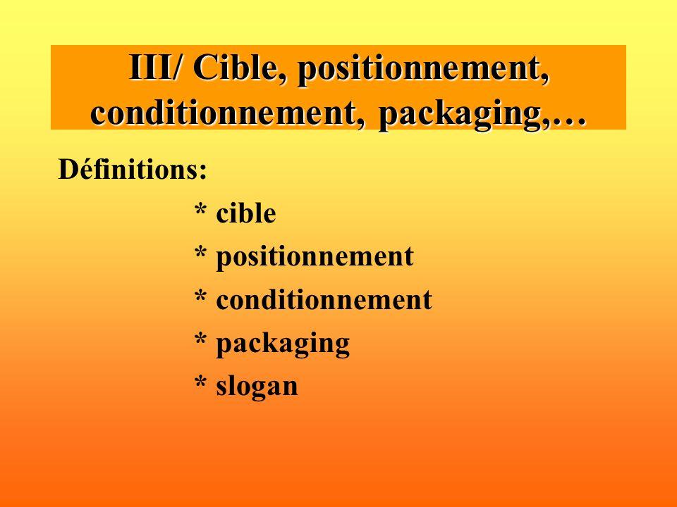 Définitions: * cible * positionnement * conditionnement * packaging * slogan III/ Cible, positionnement, conditionnement, packaging,…