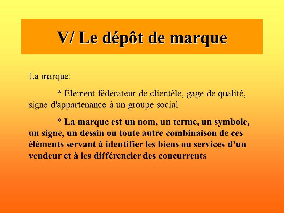 V/ Le dépôt de marque La marque: * Élément fédérateur de clientèle, gage de qualité, signe d'appartenance à un groupe social * La marque est un nom, u
