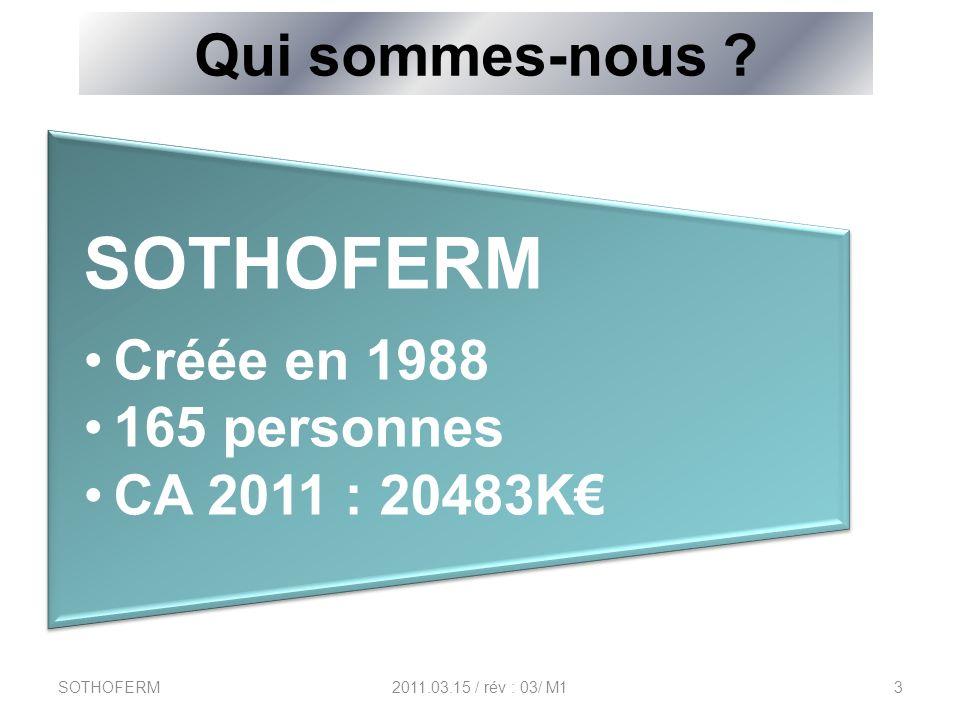Qui sommes-nous ? SOTHOFERM Créée en 1988 165 personnes CA 2011 : 20483K SOTHOFERM2011.03.15 / rév : 03/ M13