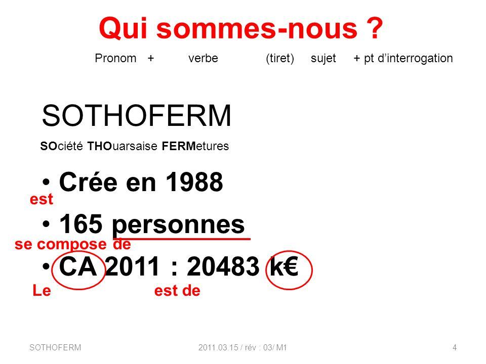 Qui sommes-nous ? SOTHOFERM2011.03.15 / rév : 03/ M14 SOTHOFERM Crée en 1988 165 personnes CA 2011 : 20483 k Pronom + verbe (tiret) sujet + pt dinterr