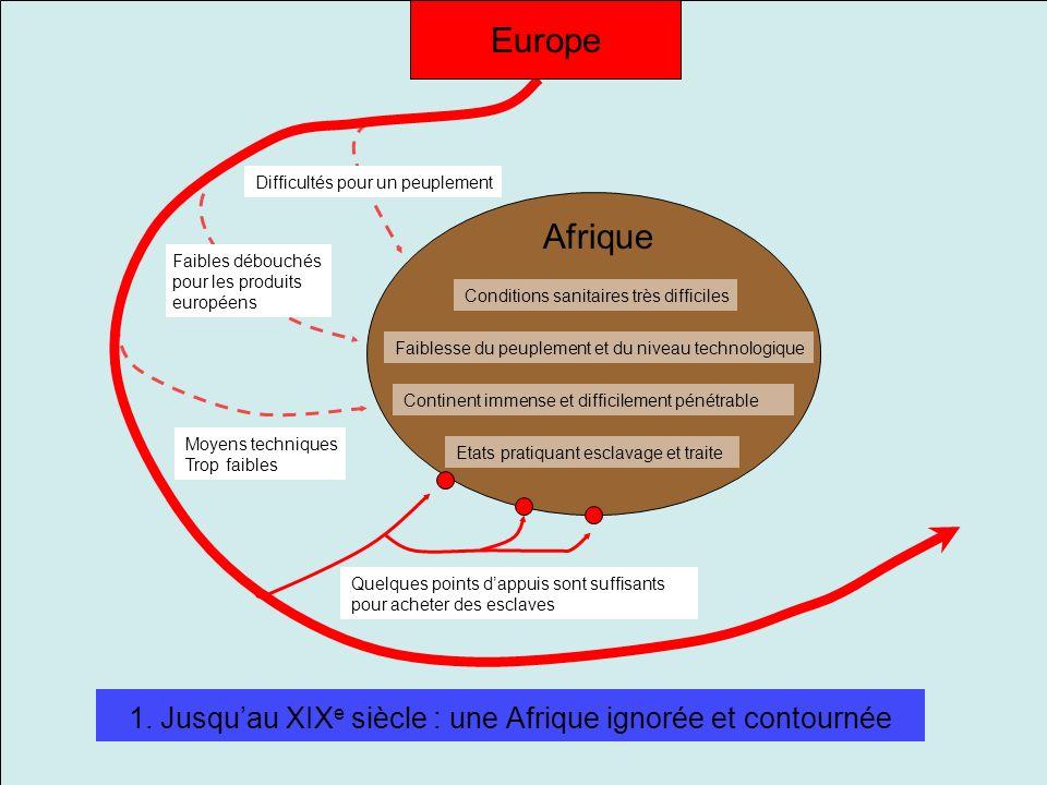 1. Jusquau XIX e siècle : une Afrique ignorée et contournée Continent immense et difficilement pénétrable Etats pratiquant esclavage et traite Faibles