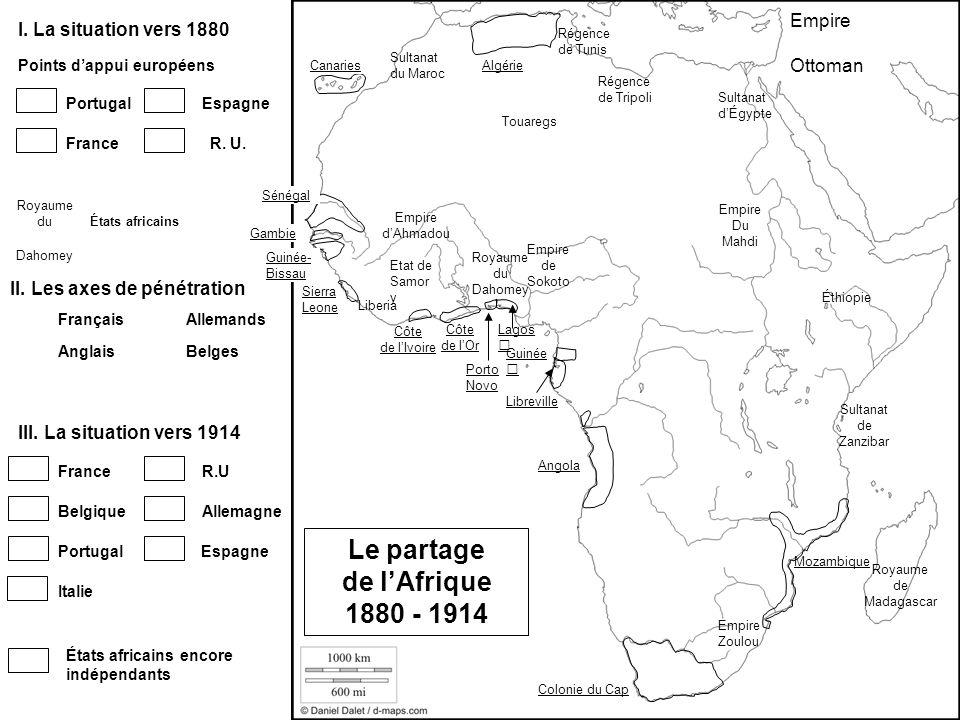 Algérie Sierra Leone Gambie Sénégal Lagos Porto Novo Côte de lOr Côte de lIvoire Libreville Mozambique Angola Colonie du Cap Portugal FranceR. U. Le p