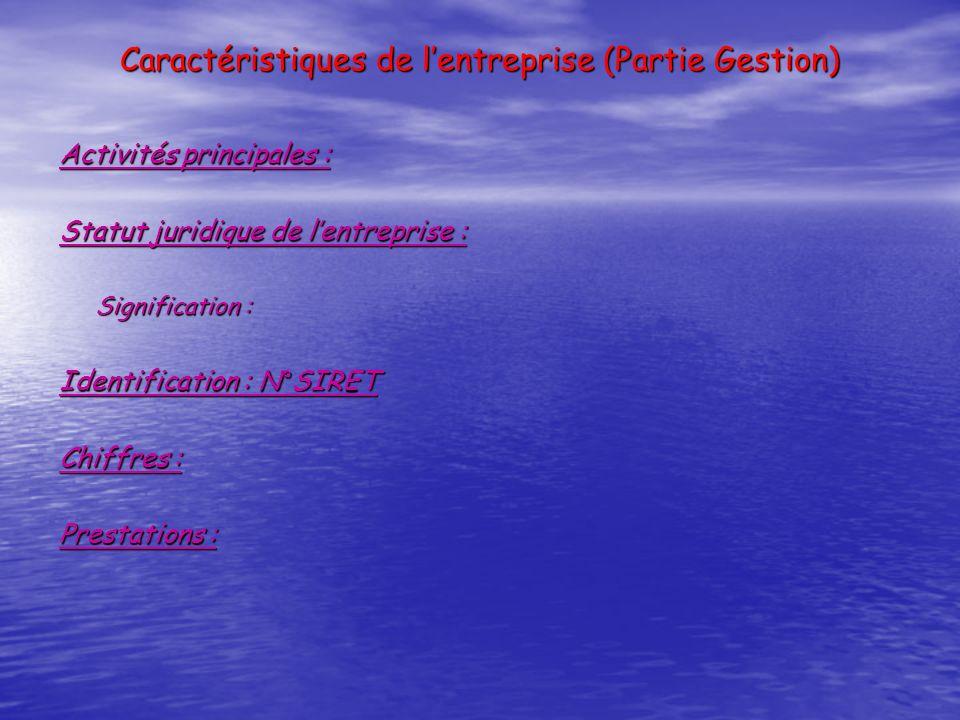 Caractéristiques de lentreprise (Partie Gestion) Activités principales : Statut juridique de lentreprise : Signification : Identification : N°SIRET Ch