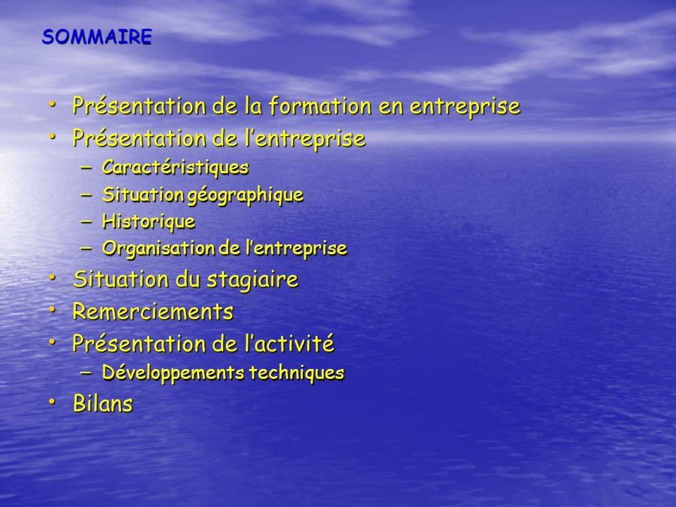 SOMMAIRE Présentation de la formation en entreprise Présentation de la formation en entreprise Présentation de lentreprise Présentation de lentreprise