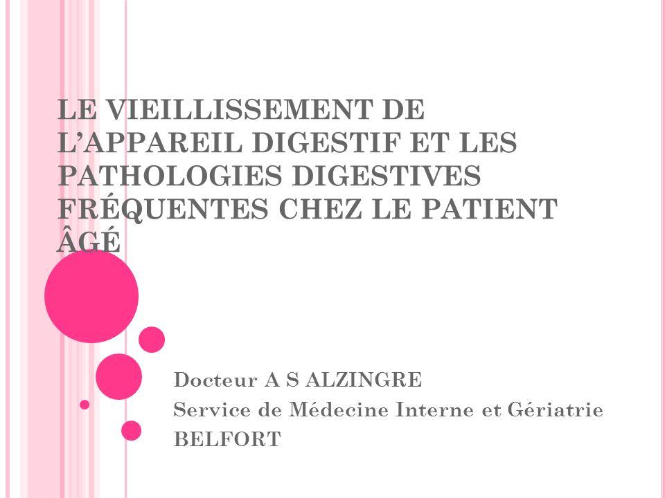 I II L ESTOMAC III.B pathologies gastriques et duodénales III.B.2 : le cancer de lestomac Assez fréquent (3 ème cancer digestif en France) Favorisé par des « états précancéreux » : les gastrites chroniques, les ulcères gastriques, les polypes Les symptômes : signes généraux +++ : amaigrissement, anorexie, asthénie signes fonctionnels : douleurs ulcéreuses atypiques, nausées, vomissements, dyspepsie examen clinique le plus souvent normal complications au moment du diagnostic : hémorragie digestive, métastases… Le diagnostic : fibroscopie oesogastroduodénale avec biopsies Le traitement : curatif : chirurgical par gastrectomie totale ou sub-totale avec curage ganglionnaire associé à une chimiothérapie selon le stade alternatives : radiothérapie, chimiothérapie seule, laser, traitement palliatif.