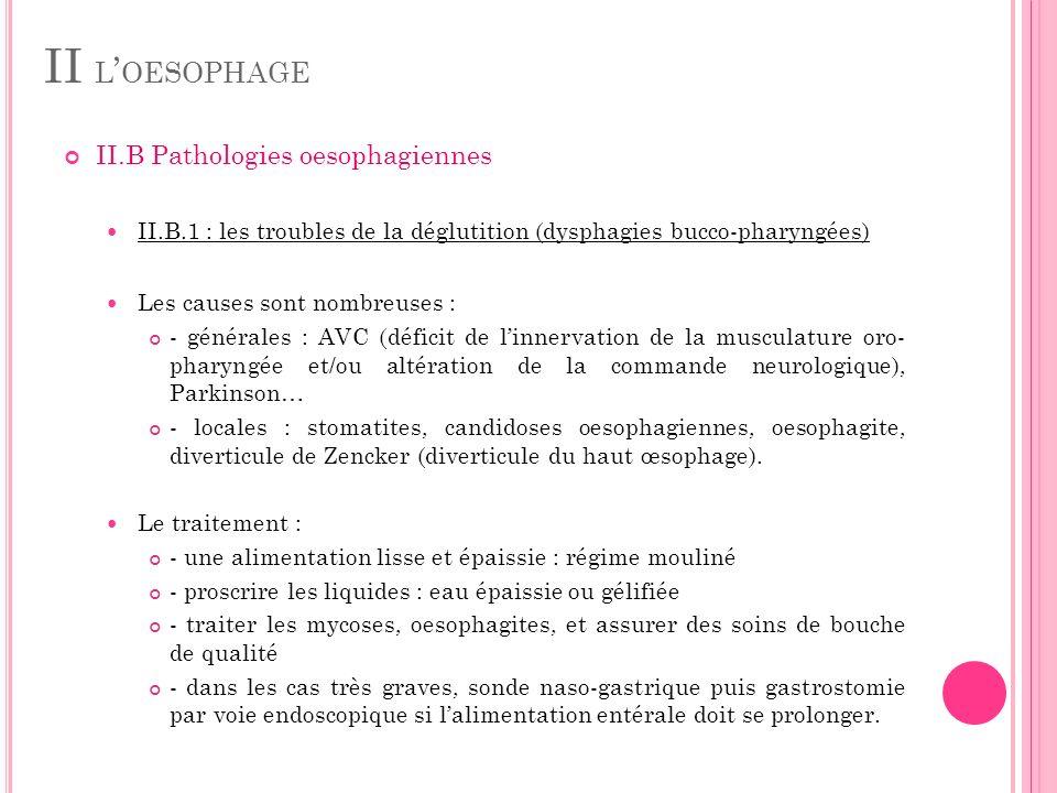 II L OESOPHAGE II.B Pathologies oesophagiennes II.B.1 : les troubles de la déglutition (dysphagies bucco-pharyngées) Les causes sont nombreuses : - gé