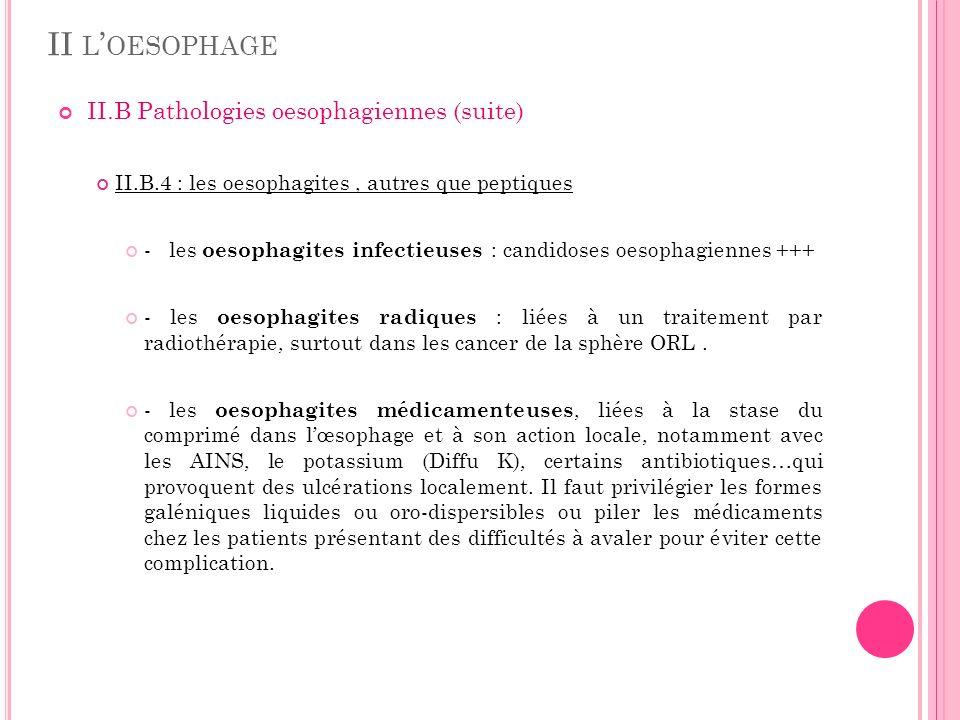 II L OESOPHAGE II.B Pathologies oesophagiennes (suite) II.B.4 : les oesophagites, autres que peptiques - les oesophagites infectieuses : candidoses oe