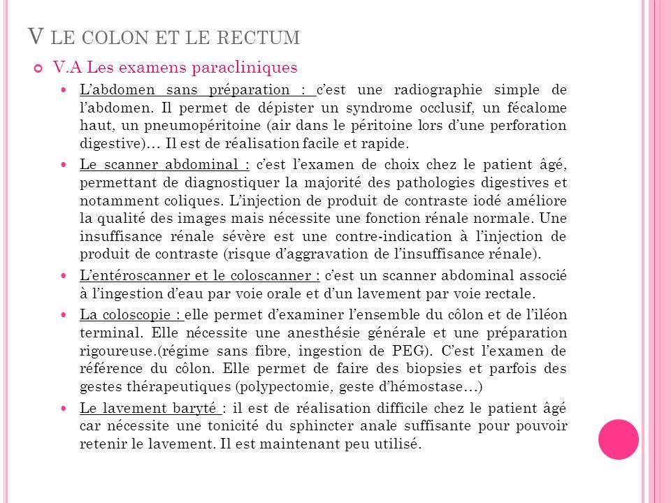 V LE COLON ET LE RECTUM V.A Les examens paracliniques Labdomen sans préparation : cest une radiographie simple de labdomen. Il permet de dépister un s
