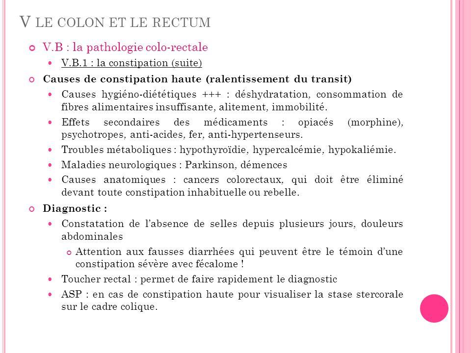 V.B : la pathologie colo-rectale V.B.1 : la constipation (suite) Causes de constipation haute (ralentissement du transit) Causes hygiéno-diététiques +