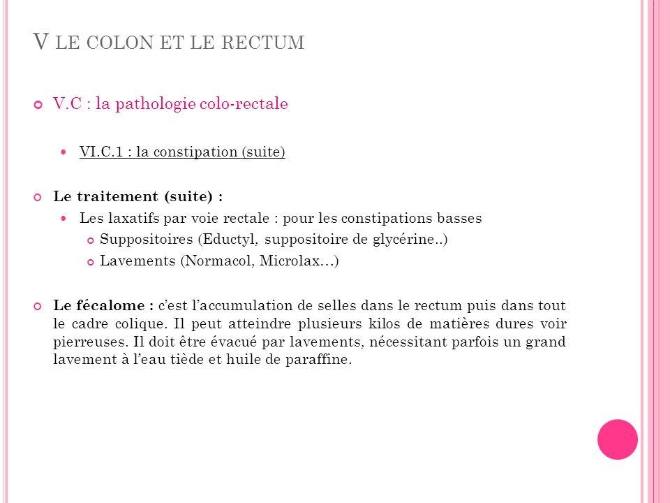 V LE COLON ET LE RECTUM V.C : la pathologie colo-rectale VI.C.1 : la constipation (suite) Le traitement (suite) : Les laxatifs par voie rectale : pour