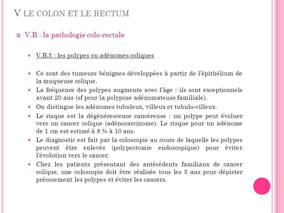 V LE COLON ET LE RECTUM V.B : la pathologie colo-rectale V.B.5 : les polypes ou adénomes coliques Ce sont des tumeurs bénignes développées à partir de