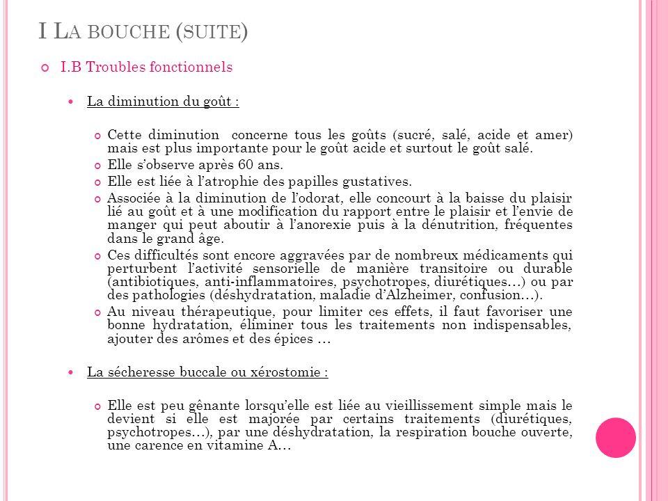 I L A BOUCHE ( SUITE ) I.B Troubles fonctionnels (suite) La sécheresse buccale ou xérostomie (suite) Associée à lacidité buccale, elle favorise les caries et les mycoses.