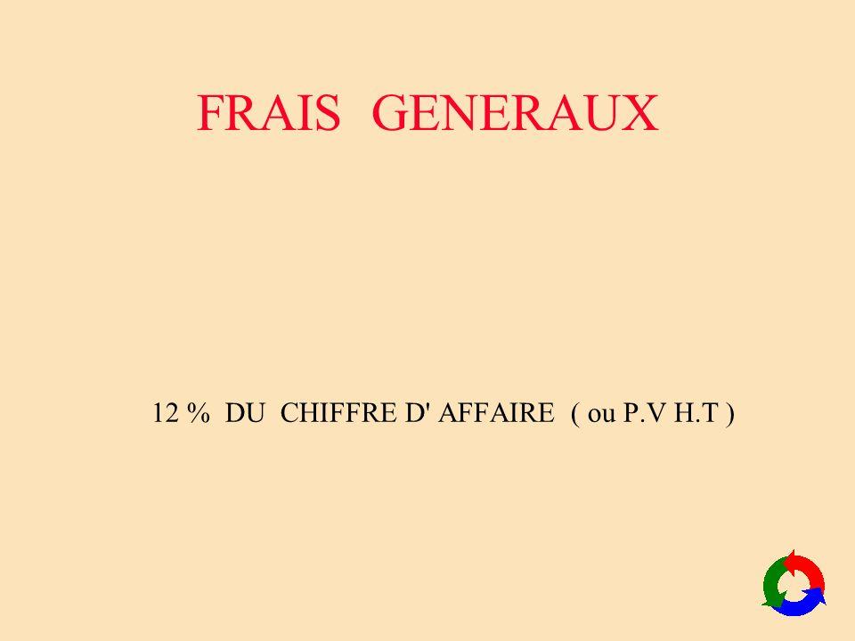 FRAIS GENERAUX 12 % DU CHIFFRE D' AFFAIRE ( ou P.V H.T )