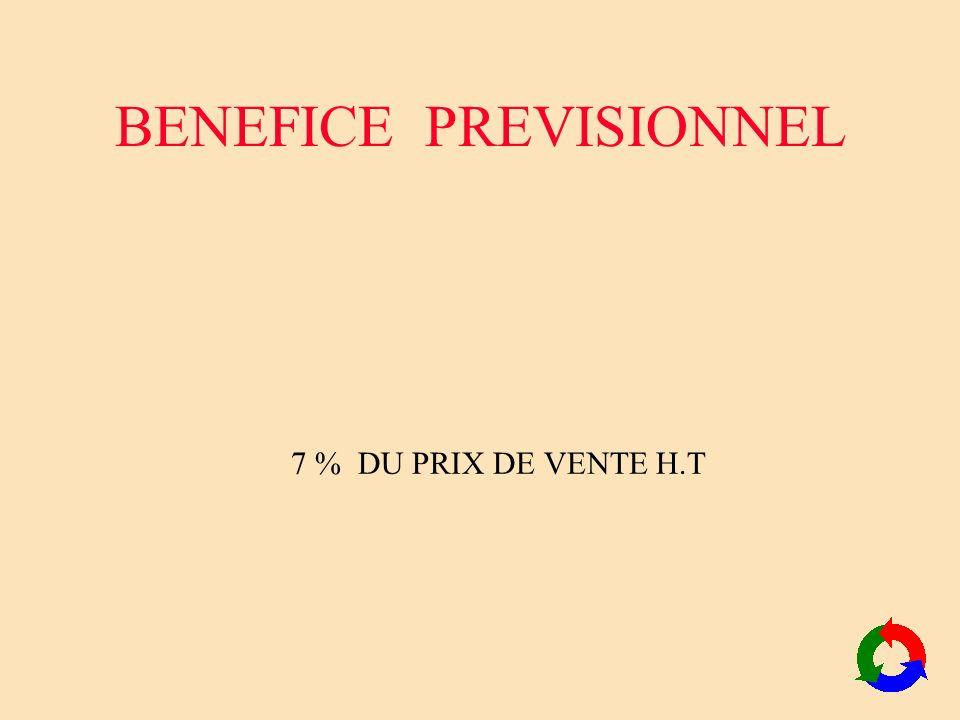 BENEFICE PREVISIONNEL 7 % DU PRIX DE VENTE H.T